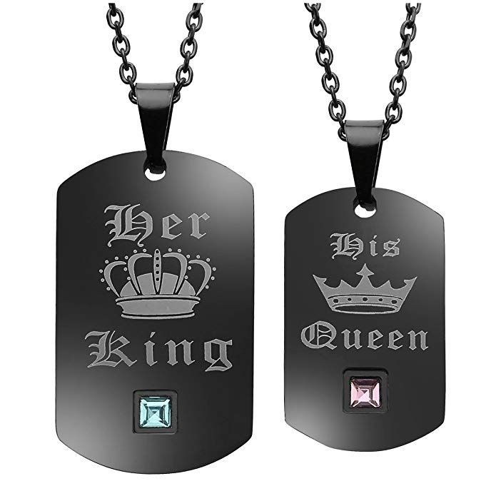 JOVIVI Couple Necklaces Stainless Steel Crown Dog Tag