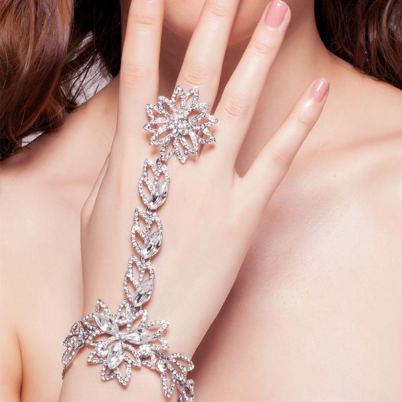 Luxury Rhinestone Flower Bridal Wrap Bracelets Wedding Jewellery