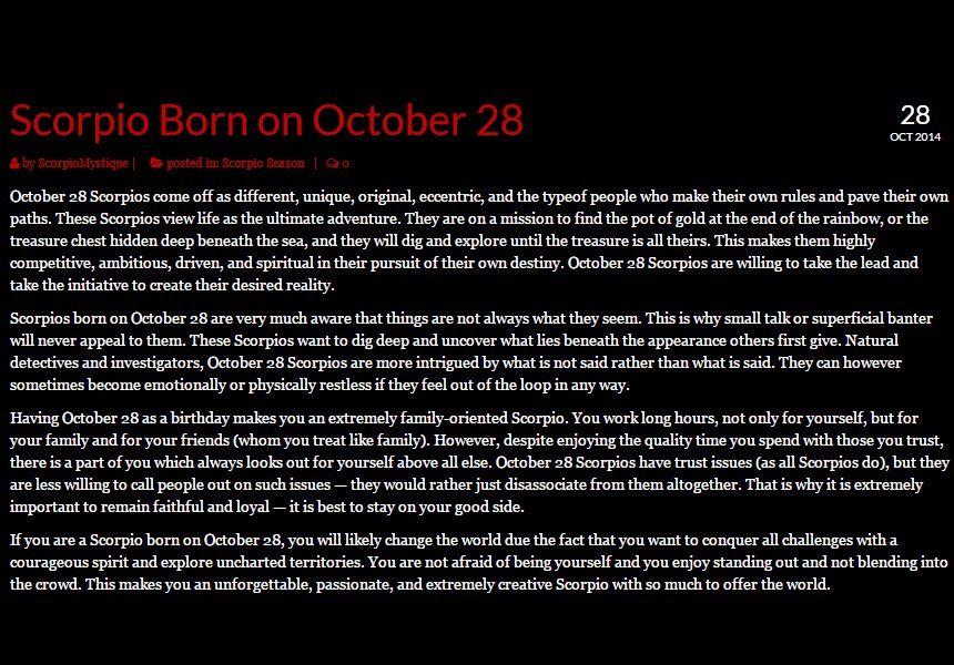 Scorpio Zodiac Personality Traits By Birthday Scorpio Quotes