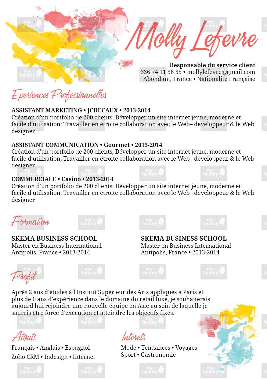 Modele Peintre Pour Vous Les Creatifs Dans L Ame Modele De Cv Original Modele De Cv Creatif Signification Des Couleurs