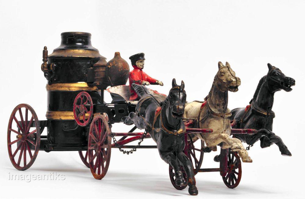 Antique Steam Pumper Fire Engine Toy Cast Iron Carriage
