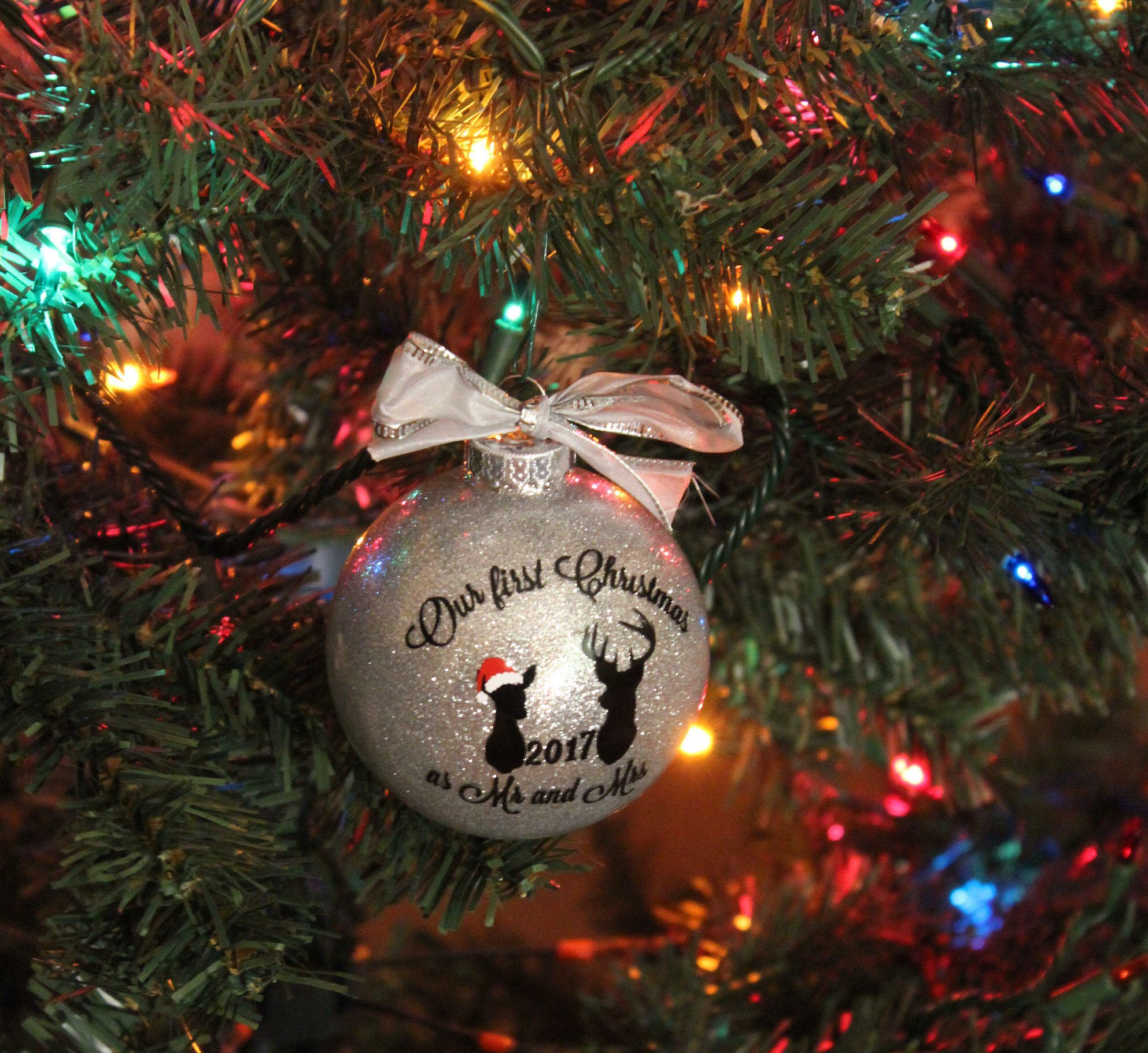 Our First Christmas As Mr And Mrs Ornament, Personalized Tree