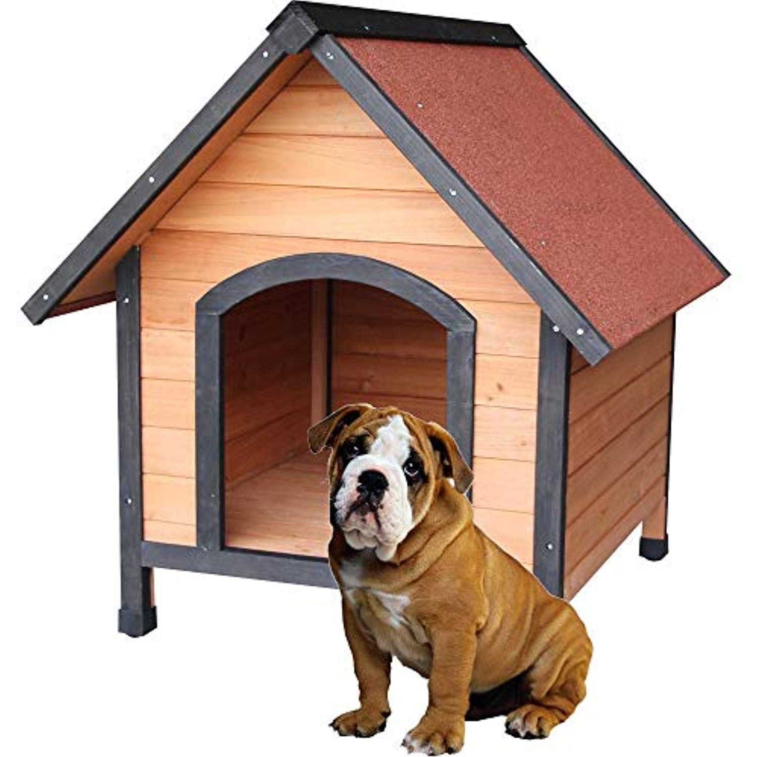 Aromzen New Waterproof Play Pet Dog House Bed Wood Shelter Home