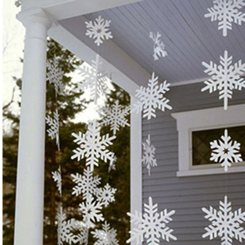 Christmas Trees Decoration White Paper Snowflakes Hanging Snow For New Year Festival Party Home Decor 12pcs/set