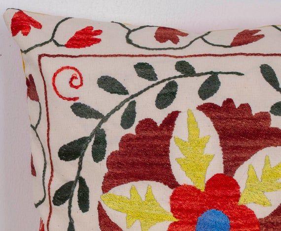 "Suzani Pillow Red Yellow Green Pillow 16""x16"" (40x40cm) Bohemian Decor Uzbek Pillowcase Suzani Silk"