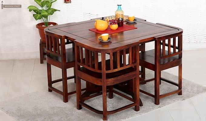 Alvan 4 Seater Round Dining Set Honey Finish Round Dining Table Sets Round Dining Set 4 Seater Dining Table