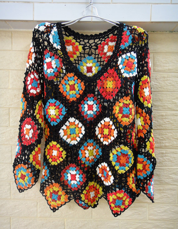 granny square sweater crochet blouse long sleeve women. Black Bedroom Furniture Sets. Home Design Ideas