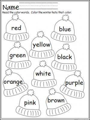 Free mitten color word practice. Great for Pre-K and Kindergarten ...