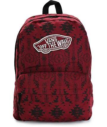 5a0d63681f9e7 Vans Realm Burgundy Tribal Backpack | Beautiful Bags in 2019 | Vans ...