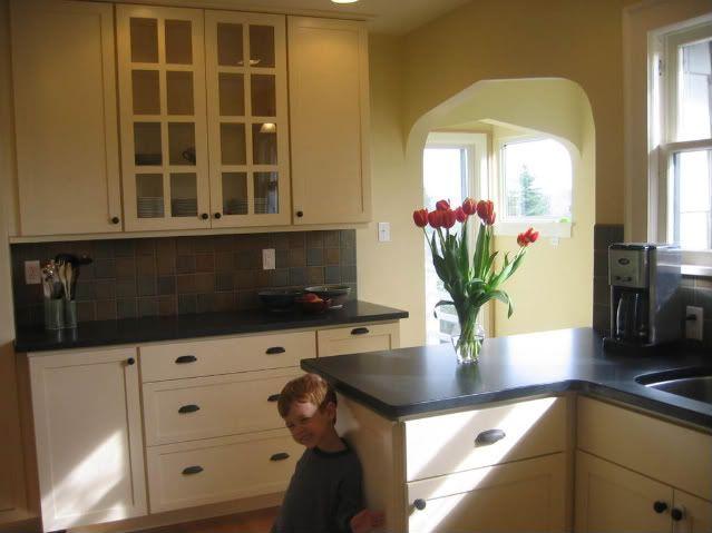 Kitchen Pale Yellow White Cabinets
