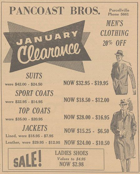 Pancoast Bros. Ad Blue Ridge Herald Jan. 6, 1955