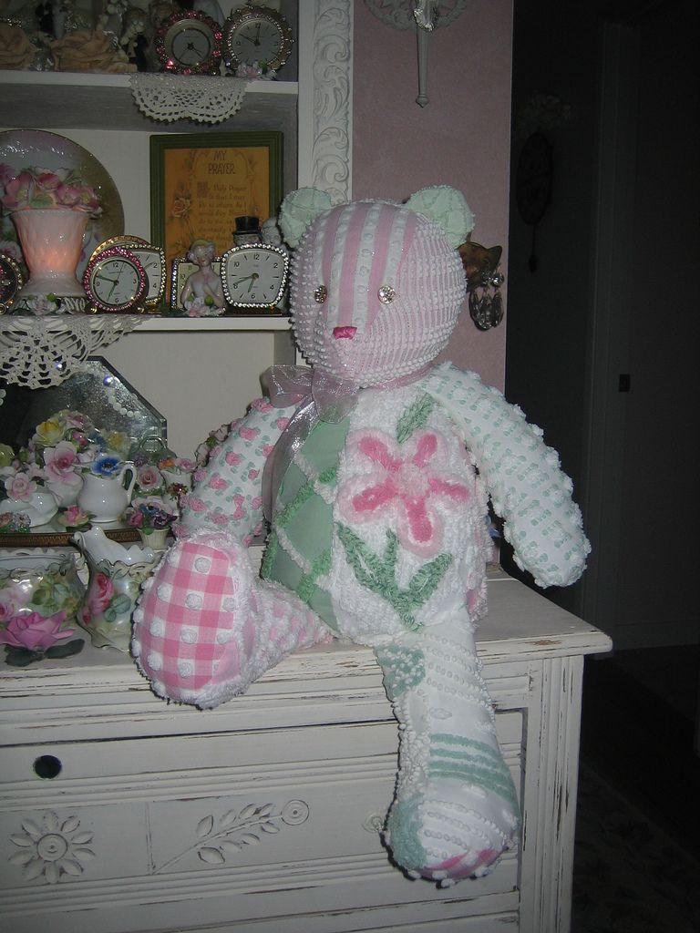 Vintage Chenille Shabby Pink Teddy Bear #bearbedpillowdolls