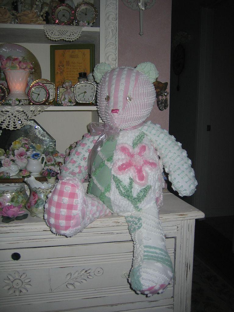 Vintage Chenille Shabby Pink Teddy Bear #bearbedpillowdolls