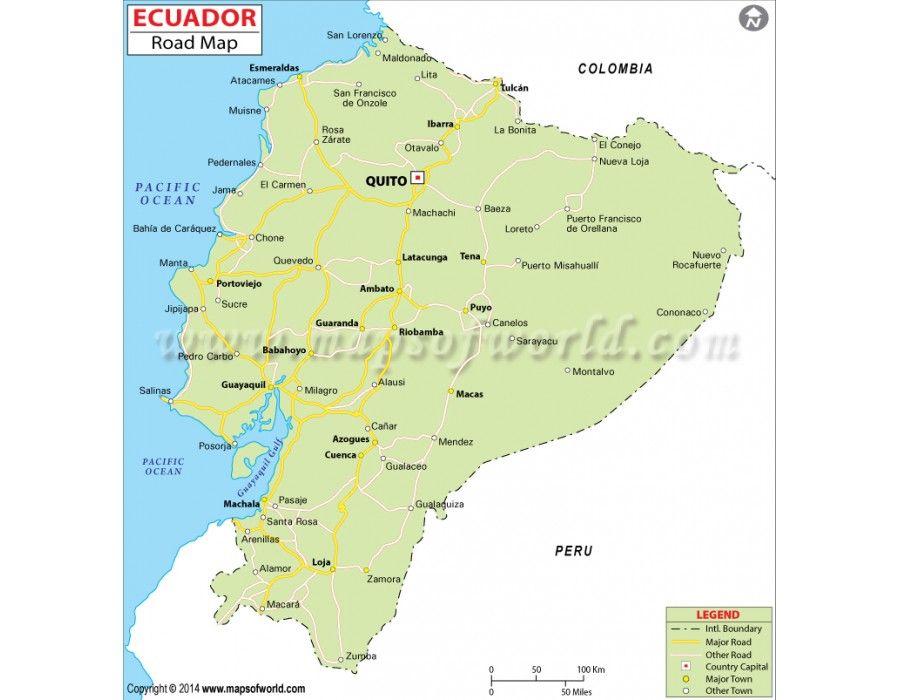 Buy Ecuador Road Map Ecuador