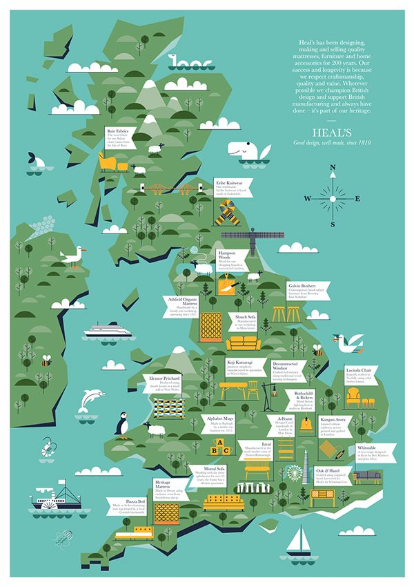 Heals uk supplier map illustrated map pinterest heals uk supplier map gumiabroncs Images