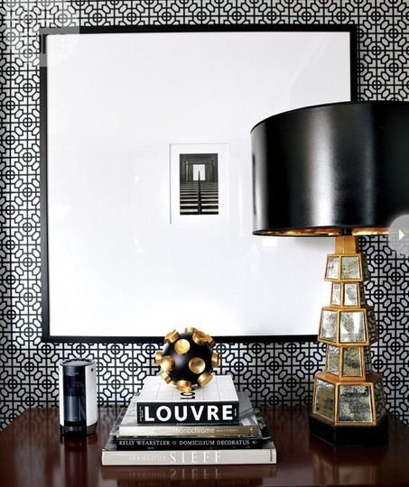 glass & brass & black lamp + wallpaper & overscale mat for small art | via legend in My LiVing Room ~ Cityhaüs Design