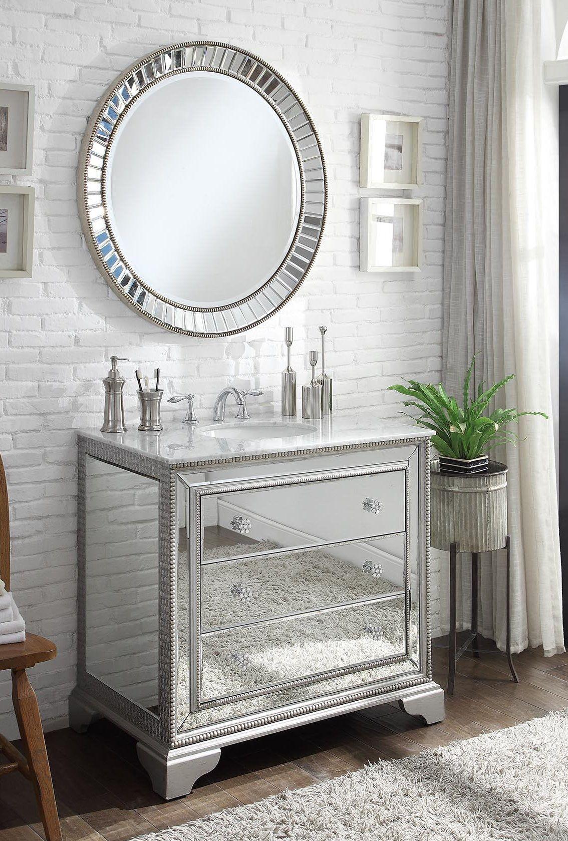 "42"" Benton Collection Mirror reflection Asha bathroom vanity w/Kesha ..."