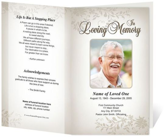 free funeral program sample 7941 funeral Pinterest – Free Memorial Program Template