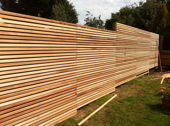 Horizontal Wood Slat Cedar Modern Skinny Contemporary Garden