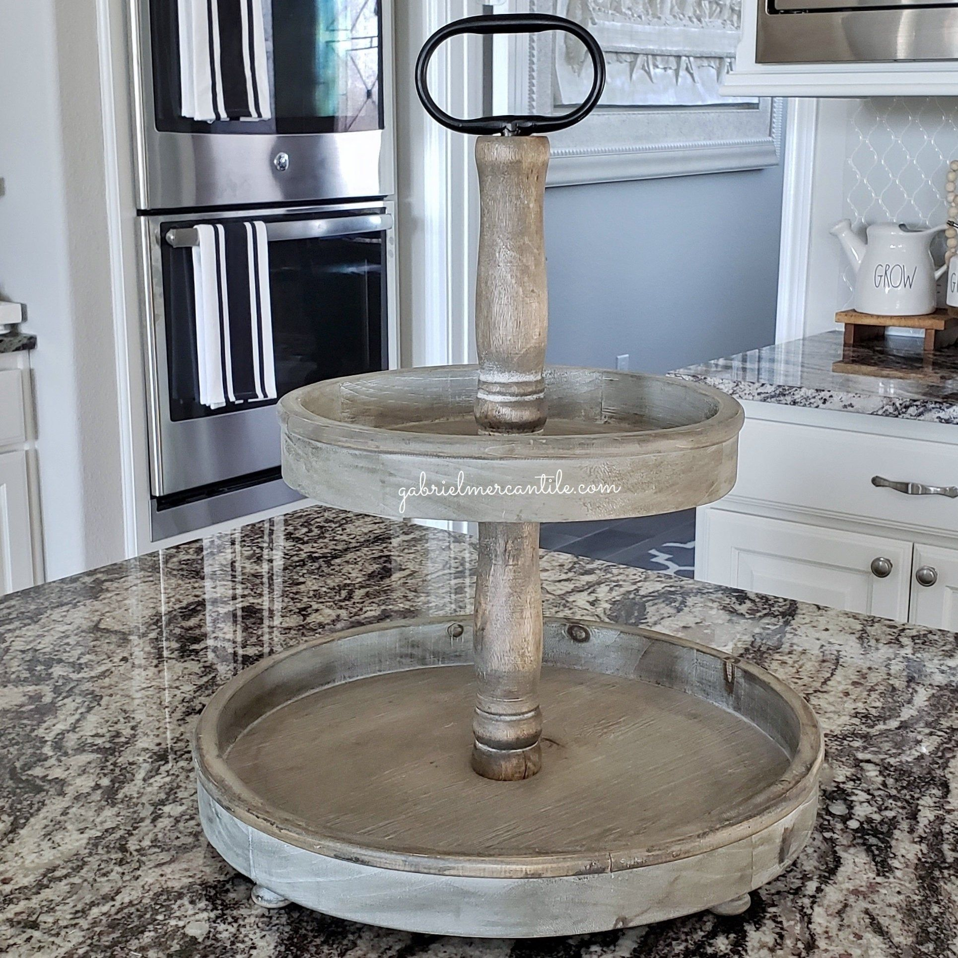 Large Round Rustic Wood 2 Tier Tray Stand In Natural Wood Wood Riser Wood Stand Wood Tray Wood Pedestal Farmhous Wood Pedestal Tiered Tray Stand Wood Tray
