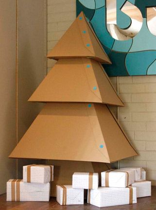 Tree Trimming 10 Diy Trees For Small Spaces Cardboard Christmas Tree Diy Christmas Tree Christmas Diy