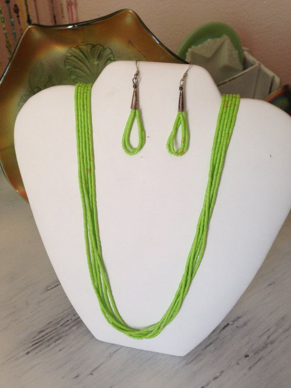 Gaspeite necklace and earrings apple green beaded | Beads ...