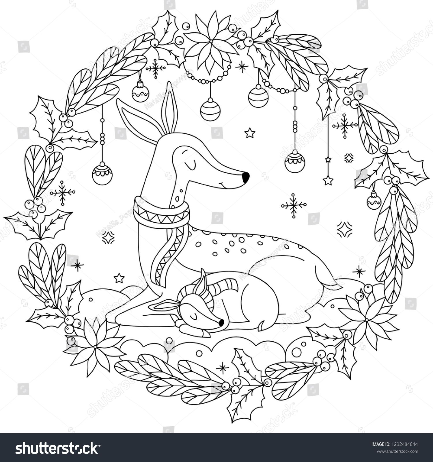 Cute Deers Sleeping On The Snow Mother Deer With Baby Deer Coloring Page Deer Coloring Book For Deer Coloring Pages Outline Illustration Blank Business Cards