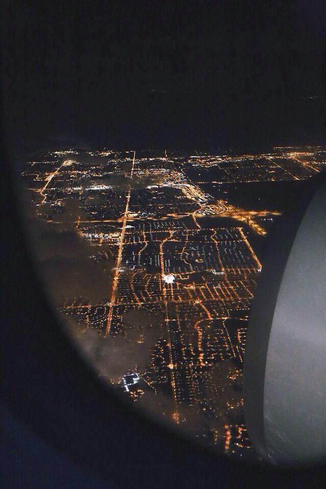 Plane View Night Time Lights Airplane Window View Plane