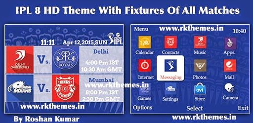 IPL 8 With Fixtures HD Theme For Nokia C3-00, X2-01, Asha