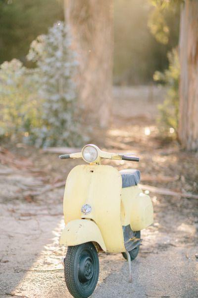 Yellow Vespa Photo Piaggio Vespa Retro Hipster Style |Pastel Yellow Vespa