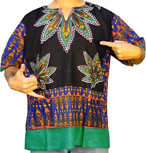 DASHIKIS are FUN! New designer exclusive available only from American Dashiki brand apparel the Cannabis Leaf dashiki in midnight black cotton. Cannabis leaves form striking notes on the shoulders h...
