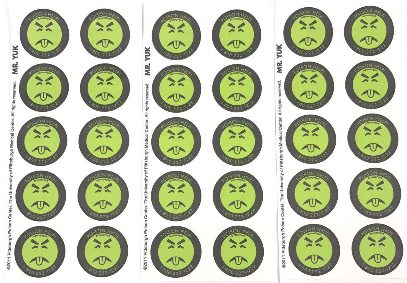 Mr Yuk Stickers 3 Sheets 30 Total Poison Prevention Genuine