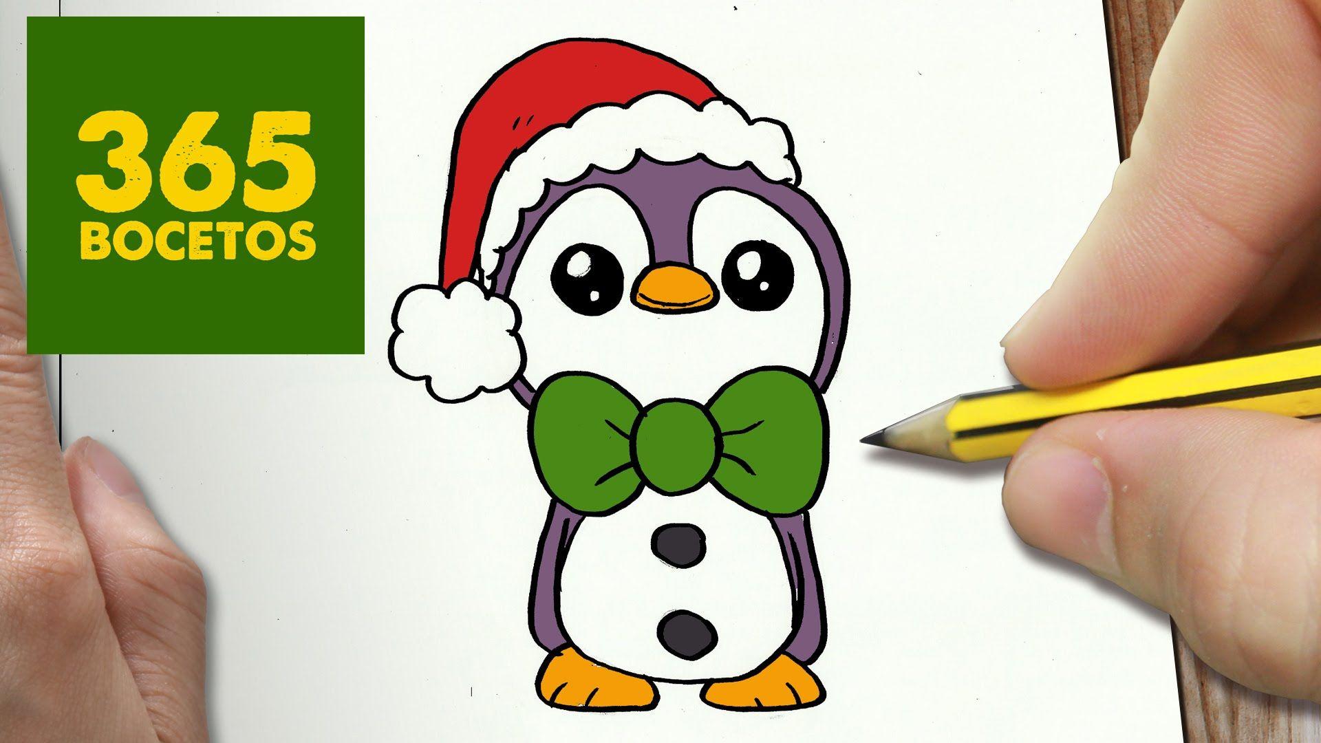 Como Dibujar Un Pinguino Para Navidad Paso A Paso Dibujos Kawaii