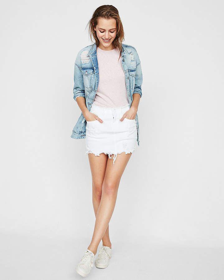 9a8ee11d4d Distressed Denim Mini Skirt White Women's 18 | Leg Styles | Denim ...