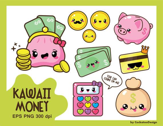 Kawaii Clipart Money Clipart Budget Clipart Kawaii Coin Etsy Kawaii Clipart Money Clipart Kawaii