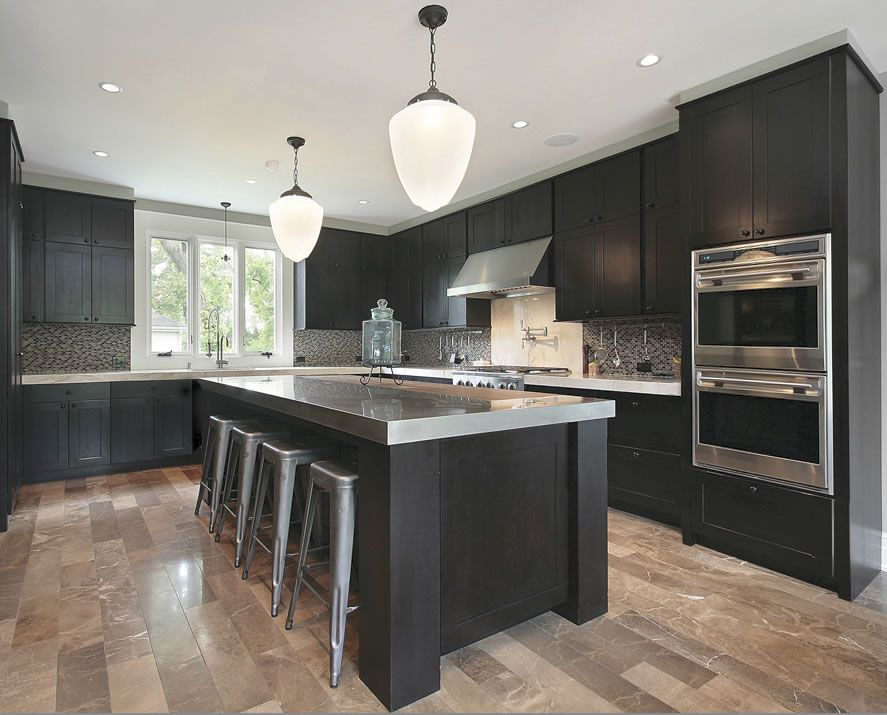 Dark Cabinets Grey Countertops And Light Wood Floors For The Home - Light grey kitchen cabinets with black island