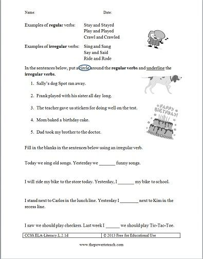 Free Irregular Verbs Worksheet For Second Grade Common Core