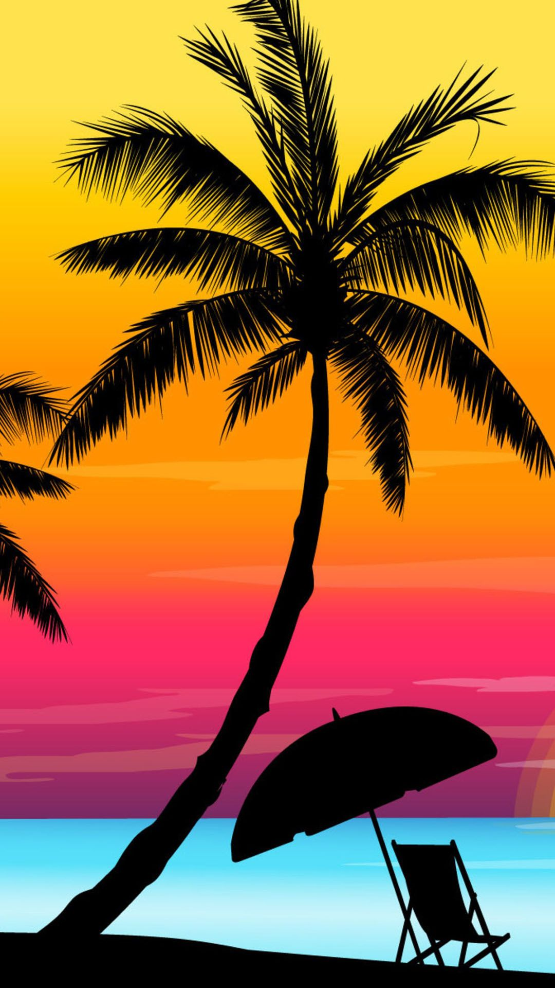 Download Colorful Beach Sunset Silhouette iPhone 6 Plus HD ... - photo#16