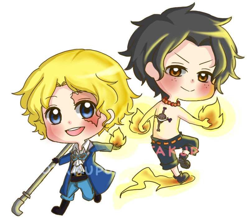 Chibi Ace and Sabo by OtakuPup