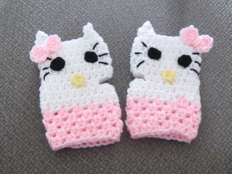 Hello Kitty Mittens Knitting Pattern : Girls Crochet Hello Kitty -Inspired Cat Fingerless Texting Gloves Mittens for...