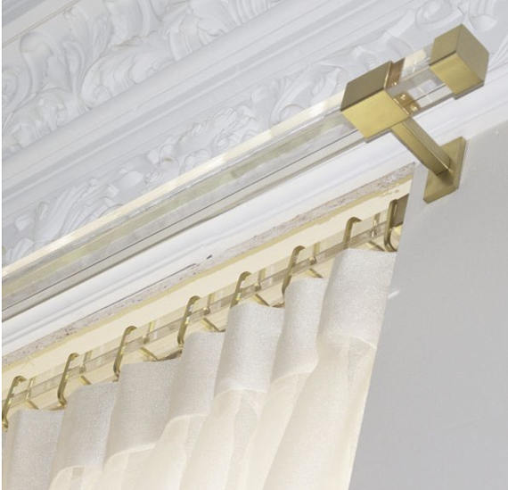 lucite curtain rod brass gold rectangle