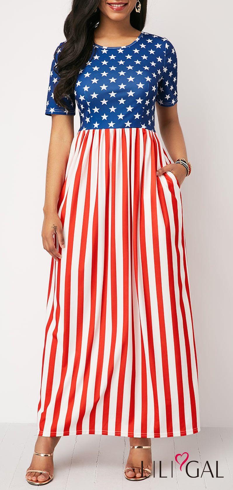 Stripe Print Short Sleeve Cutout Back Dress Liligal 4thofjuly Fourthofjuly Patriotic Cutout Maxi Dress Shop Casual Dresses Striped Print Dresses [ 1674 x 798 Pixel ]