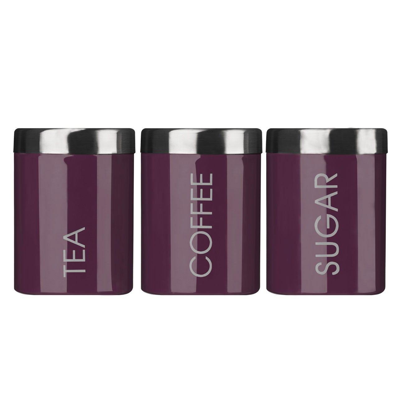 Tea Coffee U0026 Sugar Kitchen Pots/Canisters/jars Set Of 3 Purple Colour