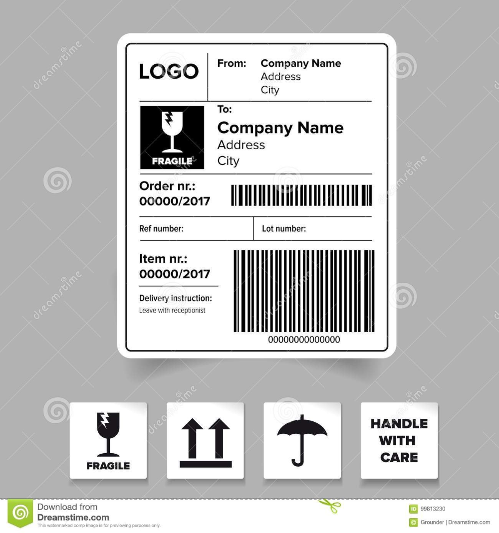Shipping Label Barcode Template Stock Vector Illustration Of In Package Address Label Template 10 Professional Address Label Template Label Templates Labels