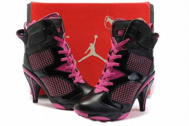 683fb1f54b8 ladies black pink jordan 6 heels