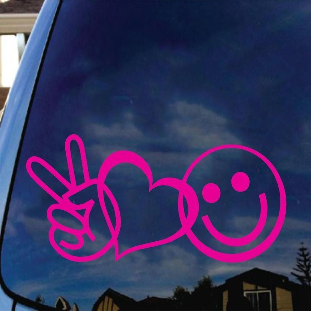 Peace Love Happiness w// PINK Heart Car Decal Sticker