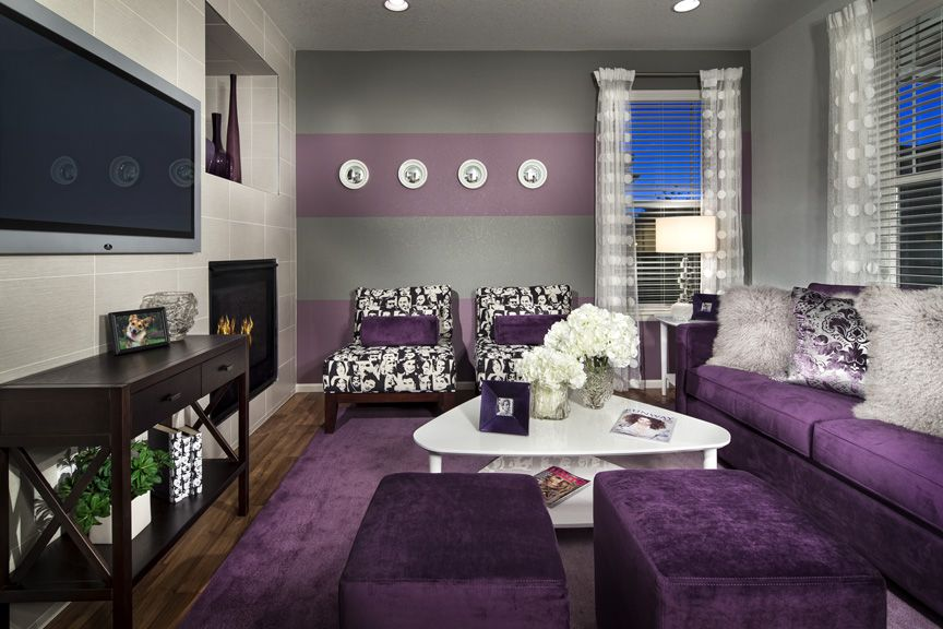 cool purple grey living room | Purple and gray stripes on the wall of the first level of ...