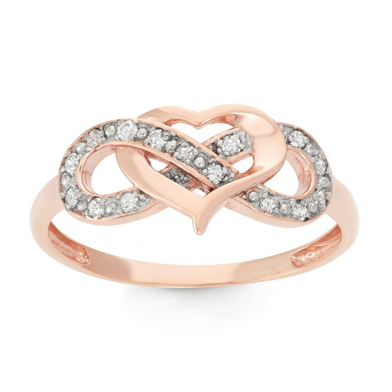 Womens 1 7 Ct T W Genuine White Diamond 10k Gold Cocktail Ring Diamond Heart Ring Gold Cocktail Ring Gold Cocktail