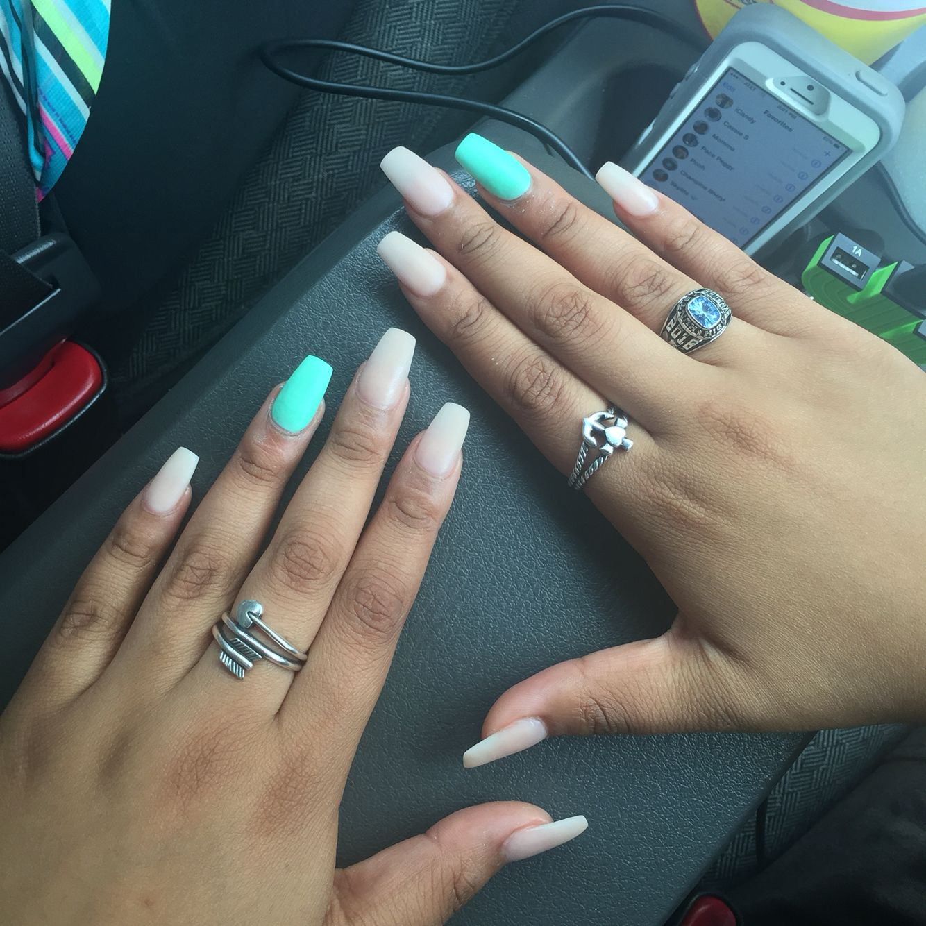 coffin teal clear nude acrylic nails matte | Nails! | Pinterest