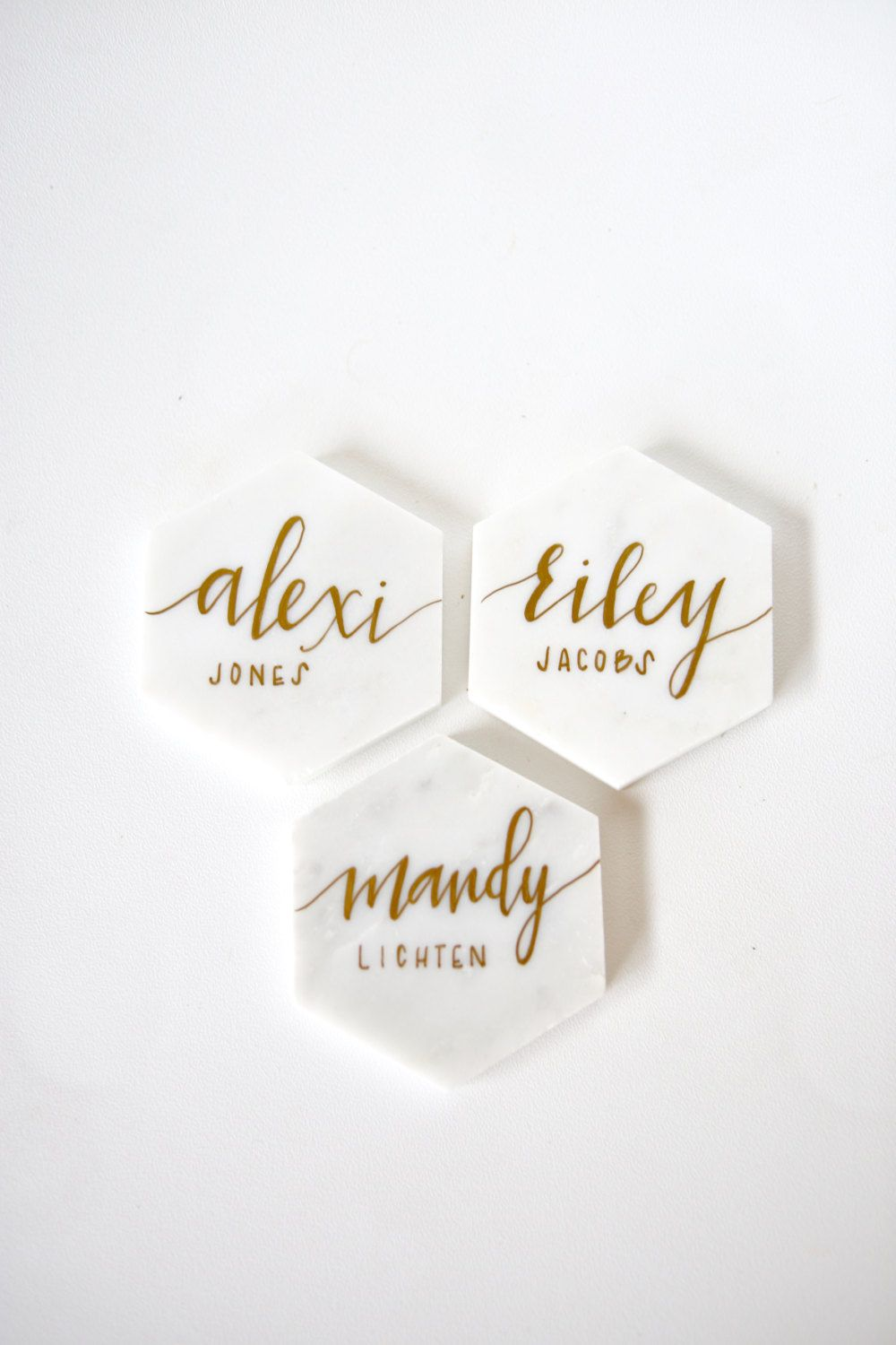 Beautiful White Marble Tile Place Cards